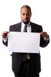 Portrait des Geschäftsmannes unbelegtes Zeichen anhalten stockfotos