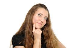 Portrait des glücklichen Mädchens mit dem langen Haar Stockfoto