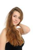 Portrait des glücklichen Mädchens mit dem langen Haar Lizenzfreies Stockfoto