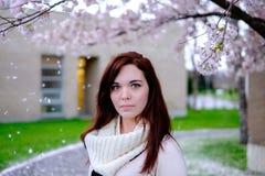 Portrait des jeunes femmes sous le cerisier Image libre de droits