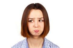 Portrait des jungen beleidigten Mädchens Stockfotos