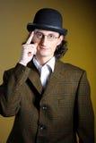 Portrait des jungen englischen Herrn in der Melone Stockfoto