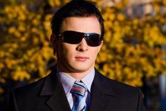 Portrait des jungen Geschäftsmannes in den Sonnenbrillen stockfotos