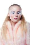 Portrait des jungen Mädchens mit den langen weißen Wimpern stockbilder