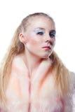 Portrait des jungen Mädchens mit den langen weißen Wimpern Lizenzfreie Stockbilder