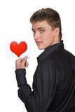 Portrait des jungen Mannes mit Valentinsgruß stockbild