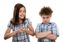 Portrait des jungen Mädchens und des Jungen Stockfoto