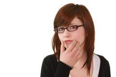 Portrait des jungen weiblichen Jugendlichen in den Gläsern Lizenzfreie Stockfotos