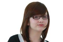 Portrait des jungen weiblichen Jugendlichen in den Gläsern Lizenzfreie Stockfotografie