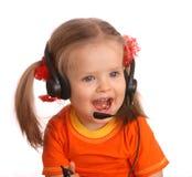 Portrait des Kindes mit Kopfhörer. Stockbild