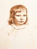 Portrait des kleinen Mädchens. Aquarell Lizenzfreies Stockfoto