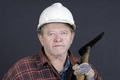 Portrait des älteren Loggers auf Schwarzem Stockbilder