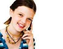 Portrait des Mädchens sprechend auf Mobile Lizenzfreie Stockfotografie