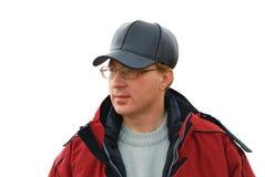 Portrait des Mannes auf einem weißen Hintergrund Stockfotografie