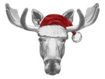 Portrait des orignaux avec Santa Hat Image stock