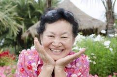 Portrait des personnes âgées asiatiques au parc Images libres de droits