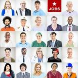 Portrait des personnes mélangées multi-ethniques de professions images stock