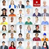 Portrait des personnes mélangées multi-ethniques de professions Image stock