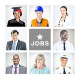 Portrait des personnes mélangées multi-ethniques de professions Photo stock