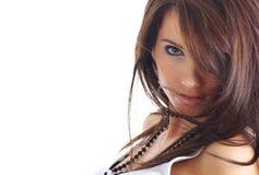 Portrait des reizvollen Mädchens mit dem langen Haar Stockbilder