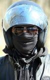 Portrait des Rennläufers im Sturzhelm Lizenzfreies Stockbild
