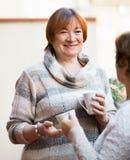 Portrait des retraités féminins buvant le thé et le sourire Photos libres de droits