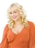 Portrait des schönen blonden Frauenlächelns Stockbild