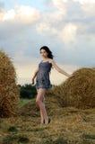 Portrait des schönen Mädchens auf einem Gebiet lizenzfreie stockfotos