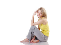 Portrait des schönen Mädchens entspannend Lizenzfreies Stockfoto
