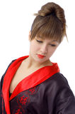 Portrait des schönen Mädchens im Kimono Stockfotografie