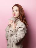 Portrait des schönen Redheadmädchens Stockfoto