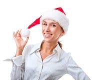 Portrait des Sekretärs im Hut von Weihnachtsmann Stockfotografie