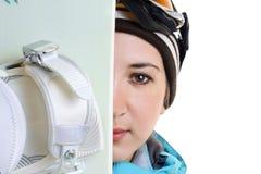 Portrait des Snowboardmädchens Stockfotos