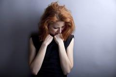 Portrait des traurigen Mädchens in der Art 80s. Lizenzfreies Stockfoto