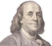 Portrait des US-Staatsmannes, -erfinders und -diplomaten Benjamin Franklin, wie er auf hundert Dollarscheingegenstücck schaut S P Lizenzfreies Stockbild