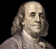 Portrait des US-Staatsmannes, -erfinders und -diplomaten Benjamin Franklin, wie er auf hundert Dollarscheingegenstücck schaut S P Stockfotografie