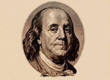 Portrait des US-Staatsmannes, -erfinders und -diplomaten Benjamin Franklin, wie er auf hundert Dollarscheingegenstücck schaut S P Lizenzfreie Stockfotografie
