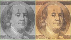 Portrait des US-Staatsmannes, -erfinders und -diplomaten Benjamin Franklin, wie er auf hundert Dollarscheingegenstücck schaut S P Lizenzfreie Stockfotos