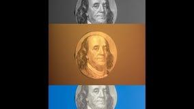 Portrait des US-Staatsmannes, -erfinders und -diplomaten Benjamin Franklin, wie er auf hundert Dollarscheingegenstücck schaut S P Lizenzfreies Stockfoto