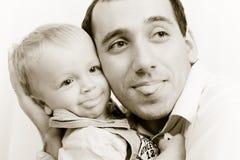 Portrait des Vatis und des Sohns Stockbild