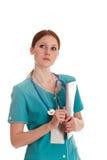 Portrait des weiblichen Doktors in der grünen Uniform Lizenzfreies Stockbild
