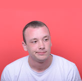 Portrait of desperate man against red background Royalty Free Stock Photo