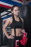 Portrait of determined female boxer with boxing gloves looking at camera Royalty Free Stock Photos