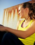 Portrait of Determined Girl in Fitness Clothing Stock Image