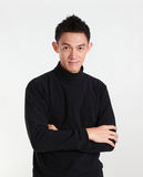 Portrait of determined goodlooking man wearing black shirt,asian Stock Image