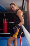Portrait of determined woman standing in boxing ring Royalty Free Stock Images