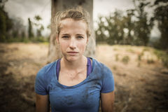 Portrait of determined woman standing during obstacle course Royalty Free Stock Image