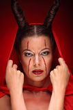 Portrait of a devil with horns. Fantasy. Art Royalty Free Stock Images
