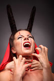 Portrait of a devil with horns. Fantasy. Art Stock Photos