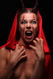 Portrait of a devil with horns. Fantasy. Art project. halloween Royalty Free Stock Images